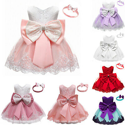 £14.20 • Buy Toddler Baby Girls Lace Dress Ball Gowns Birthday Party Bridesmaid Dress Costume