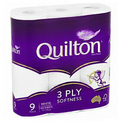 AU29.19 • Buy Quilton Tissue Roll White 3ply 9 Pack Nappies Toilet Paper Bathroom Essentials