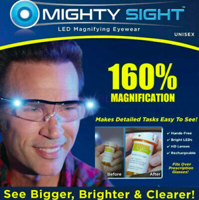 £7.85 • Buy Mighty Sight Led Magnifying Eyewear Hd Rechargeable Glasses - As Seen On Tv Uk