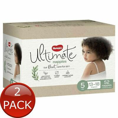 AU70 • Buy 2 X HUGGIES ULTIMATE WALKER SIZE 5 52 NAPPY DIAPER SOFT & BREATHABLE DRY COVER