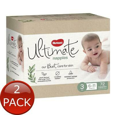 AU77.46 • Buy 2 X HUGGIES ULTIMATE CRAWLER NAPPIES SIZE 3 72 DIAPER SOFT BREATHABLE DRY COVER