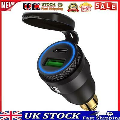£13.38 • Buy DIN Plug To QC3.0 + PD USB Charger W/ LED Light For Motorcycle (Black+Blue)