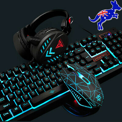 AU46.99 • Buy Gaming Keyboard Mechanical Keyboard And Wired Mouse Headset LED Backlit