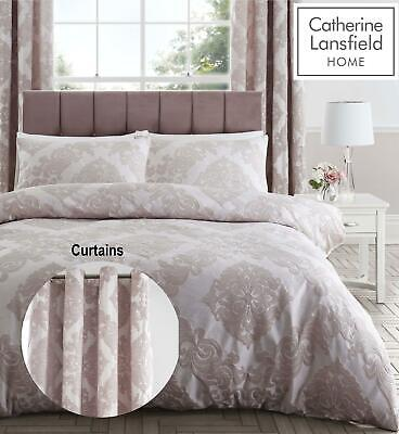 £54.99 • Buy Catherine Lansfield Rococo Jacquard Blush Duvet Cover Sets Or Eyelet Curtains