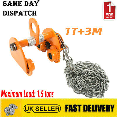 £60.81 • Buy Heavy Duty 1T Overhead Geared Beam Trolley Hoist Lifing Tackle With 3M Chain