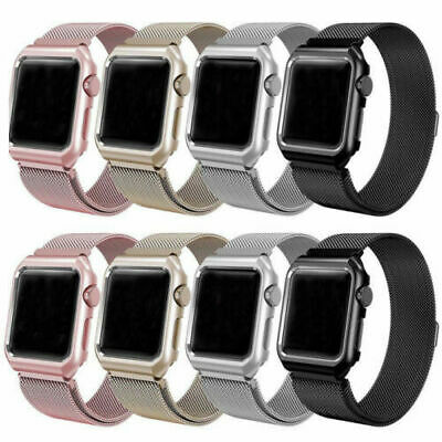 AU14.99 • Buy Magnetic Milanese Stainless Strap Apple IWatch Series 6 5 4 21 Band +Case Cover
