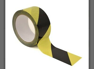 £4.48 • Buy 66m Roll Of Hazard Warning Tape - Yellow And Black - Adhesive  - PVC - 48mm Wide