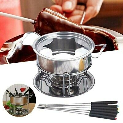 £9.85 • Buy Cheese Chocolate Fondue Set Melting Pot Stainless Steel W/ 6 Forks & Fuel Burner