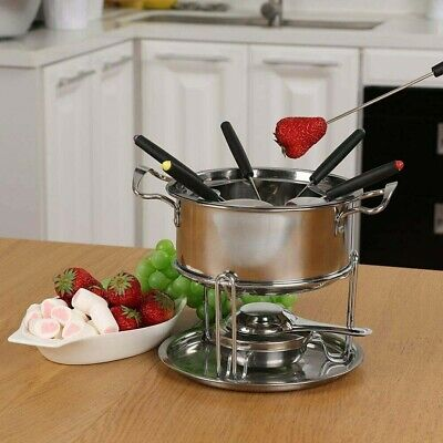 £8.74 • Buy Cheese Chocolate Fondue Set Melting Pot Stainless Steel W/ 6 Forks & Fuel Burner
