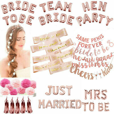 £1.79 • Buy To Be Ring Miss To Mrs Banner Bunting Balloon Sash Wedding Party Rose Gold Bride