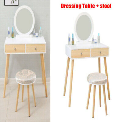 AU118.55 • Buy Dressing Table With Stool Furniture Oval Mirror 2 Drawers Desk Makeup Cosmetic