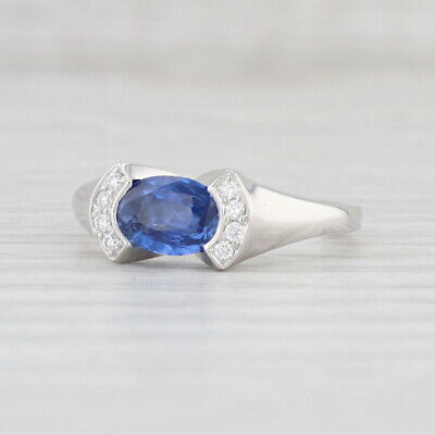 AU2225.01 • Buy 1.38ctw Sapphire Diamond Ring 14k White Gold Size 7 Oval Solitaire