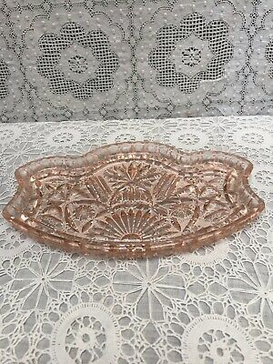 £8.50 • Buy Vintage Pink Glass Dressing Table Tray Cottagecore