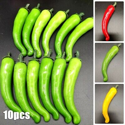 £2.96 • Buy 10x PVC Large Artificial Chillies Fake Fruit Vegetables Peppers 3 Colors 12cm