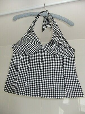 £20 • Buy H&M Gingham Crop Top Halter-Neck Front Fastening Corset Style Size XS S L11.5