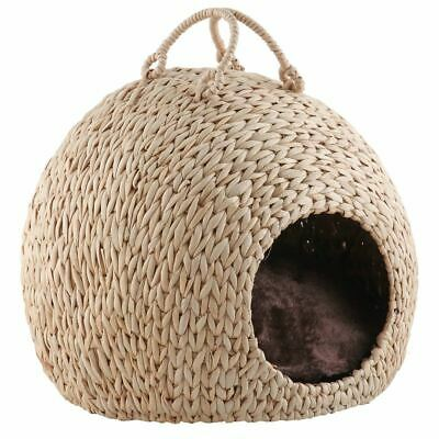 £39.99 • Buy Wicker Cat Kitten Bed Basket Pet Sleeping House Pod Cave Cusion Small Dog Puppy