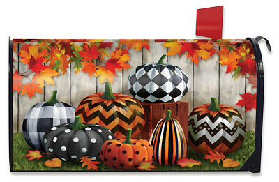 $16.99 • Buy Patterned Pumpkins Autumn Magnetic Mailbox Cover Fall Leaves Standard Briarwood