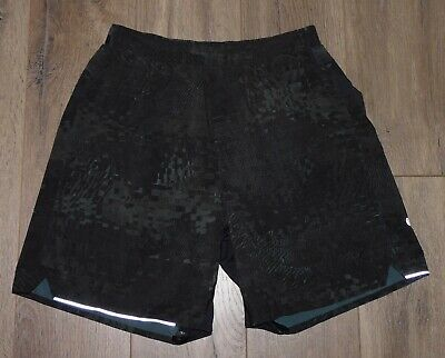 $ CDN42.50 • Buy Men's LULULEMON Surge Black Brown Printed Lined Fitness Athletic 6  Shorts Small