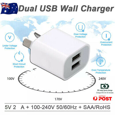 AU6.95 • Buy 5V2A Dual USB Wall Charger AU PLUG Power Adapter Cable For IPhone 678 X 11 IPad