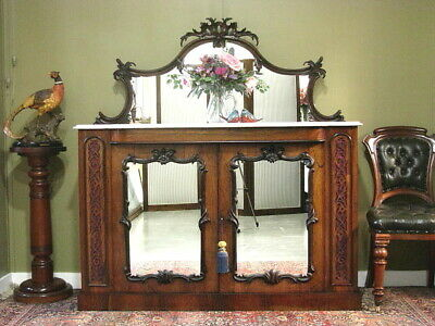 AU1350 • Buy FINE ANTIQUE CARVED ROSEWOOD + MARBLE MIRRORED SIDEBOARD STORAGE CABINET C1870