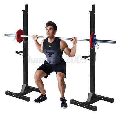 $ CDN92.29 • Buy 2PCS Adjustable Squat Rack Bench Press Weight Lifting Barbell Stand Home Gym