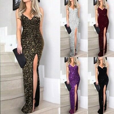 AU38.63 • Buy Women Sequin Weddig Cocktail Formal Prom Evening Party Maxi Dress Ball Gown AN8