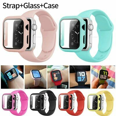 AU11.99 • Buy Silicone IWatch Band Strap +Case Cover Bumper For Apple Watch 654/321 SE 38-44mm