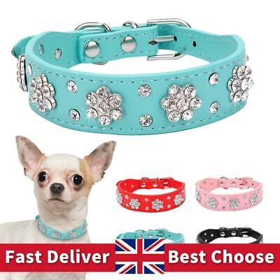 £5.19 • Buy Rhinestone Dog Collar Diamante Leather Pet Puppy Necklace Bling Crystal Collars
