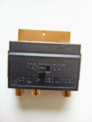 £4.50 • Buy Scart Adaptor AV Block To 3 RCA Sockets S-Video With In/Out Switch GOLD