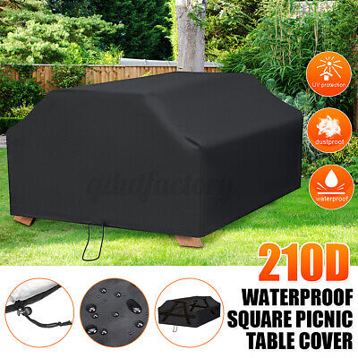 £20.88 • Buy 210D 6/8 Seater Black Square Picnic Bench Table Cover Garden Outdoor Waterproof
