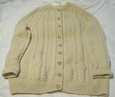 £25 • Buy Aran Cardigan Hand Knitted Size L 16/18  44  Ivory Cream Round Neck. Pockets