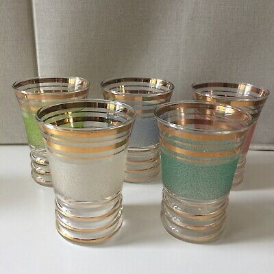 £21.95 • Buy Vintage 50's 60's Sugar Frosted Harlequin Coloured Gilded Glasses Tumblers
