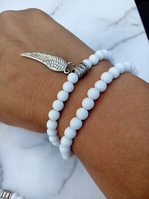 £2.99 • Buy Angel WING Charm Bracelet SET Tibet Silver Tone White Beads Stretch Stacking
