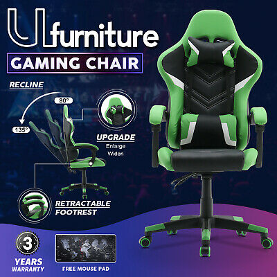 AU149.90 • Buy Gaming Chair Computer Racer Office Executive Seating PU Leather Recliner Green