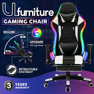 AU209.90 • Buy Gaming Chair Office Computer Executive Racing Recliner PU Leather LED Ergonomic