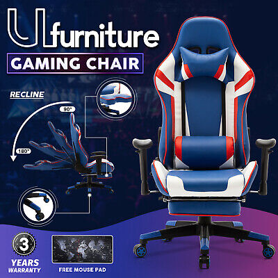 AU169.90 • Buy Gaming Racer Chair 180° Recliner Chair Executive Office Computer W/Footrest