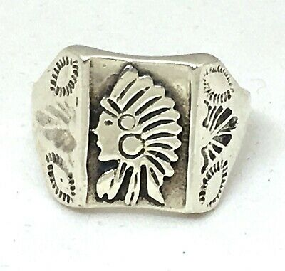 £46.84 • Buy Silver Indian Head Ring, Cigar Band Ring, Native Southwest Style Chief Headdress