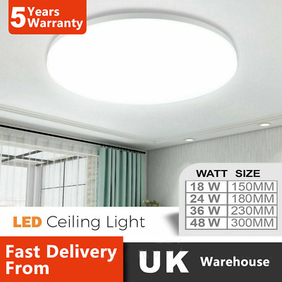 £12.29 • Buy LED Ceiling Light Round Panel Down Lights Kitchen Living Room Bathroom Wall Lamp
