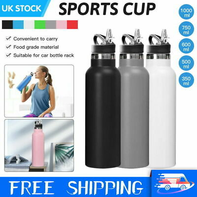 £11.99 • Buy Stainless Steel Water Bottle Double Wall Insulated Vacuum Gym Sports Metal Flask