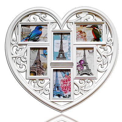 £9.59 • Buy Large Heart Shaped Family 6 Aperture White Photo Picture Multi Frame Gift 6
