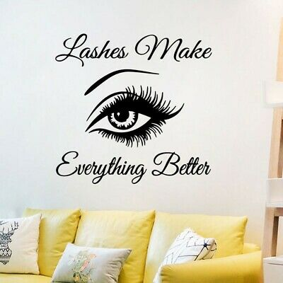 £6.54 • Buy Wall Art Stickers Eyelashes Lashes Extension Decal Beauty /Salon Mural DIY Decor