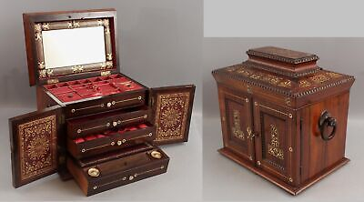 £429.90 • Buy Antique 1835 Empire Rosewood MOP Inlaid Fitted Jewelry Chest Drawers & Desk