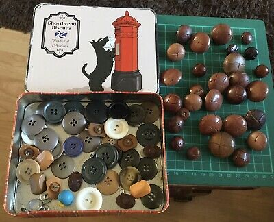 £4.95 • Buy Vintage Football Leather Buttons ASSORTED SIZES In Scottish Biscuit Tin, Plus
