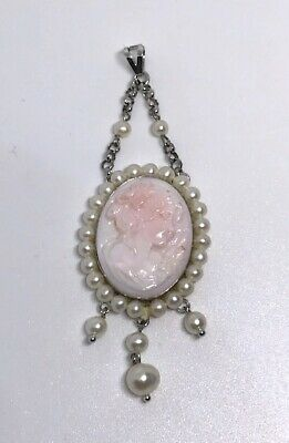 $99.99 • Buy New M+M Scognamiglio Sterling Italy Carved Pink Coral Cameo & Pearl Drop Pendant