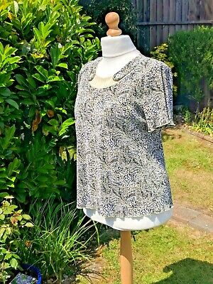 £4.75 • Buy FOREVER By Michael Gold. Black/Cream Animal Print Blouse-Size XL/18 -Super Con