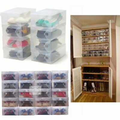 $42.68 • Buy Drawer Type Clear Plastic Foldable Shoes Storage Box For Unisex & Kids Organizer