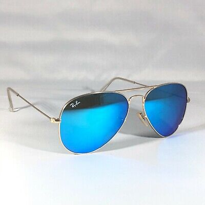 £46 • Buy Ray-Ban 3025 Aviator 112/17 Sunglasses Blue Flash Mirror Lenses With Gold Frames