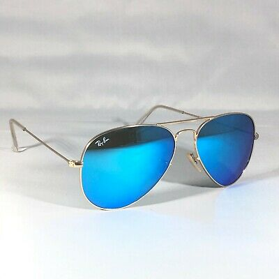 £31 • Buy Ray-Ban 3025 Aviator 112/17 Sunglasses Blue Flash Mirror Lenses With Gold Frames