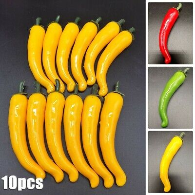 £6.38 • Buy 10x PVC Large Artificial Chillies Fake Fruit Vegetables Peppers 3 Colors 12cm