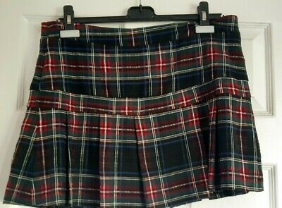 £1 • Buy Warehouse Green/ Blue /Red Checked Tartan Pleated Skirt Size 12